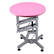 SHERNBAO - stół z podnośnikiem pneumatycznym, średnica blatu 60 cm, kolor różowy