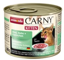 ANIMONDA Carny Kitten Wołowina, Kurczak + Królik - smakowita mokra karma dla kociąt, puszka 200 i 400g