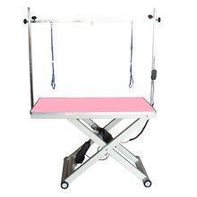 GroomStar - stół z podnośnikiem elektrycznym, blat 120 cm x 65 cm, różowy