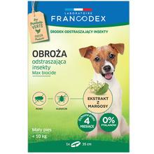 FRANCODEX - obroża odstraszająca insekty dla psów małych ras (do 10 kg), 35 cm