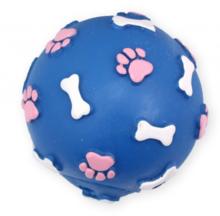PET NOVA Piłka ze wzorem łapek i kości niebieska - zabawka winylowa dla psa, 9 cm