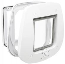 TRIXIE Drzwiczki wahadlowe 4-Way do szklanych drzwi, 27 × 26 cm, białe
