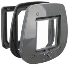 TRIXIE Drzwiczki wahadlowe 4-Way do szklanych drzwi, 27 × 26 cm, szare