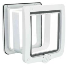 TRIXIE Dwustronne drzwiczki wahadłowe z tunelem 4-Way XL, 24 × 28 cm białe