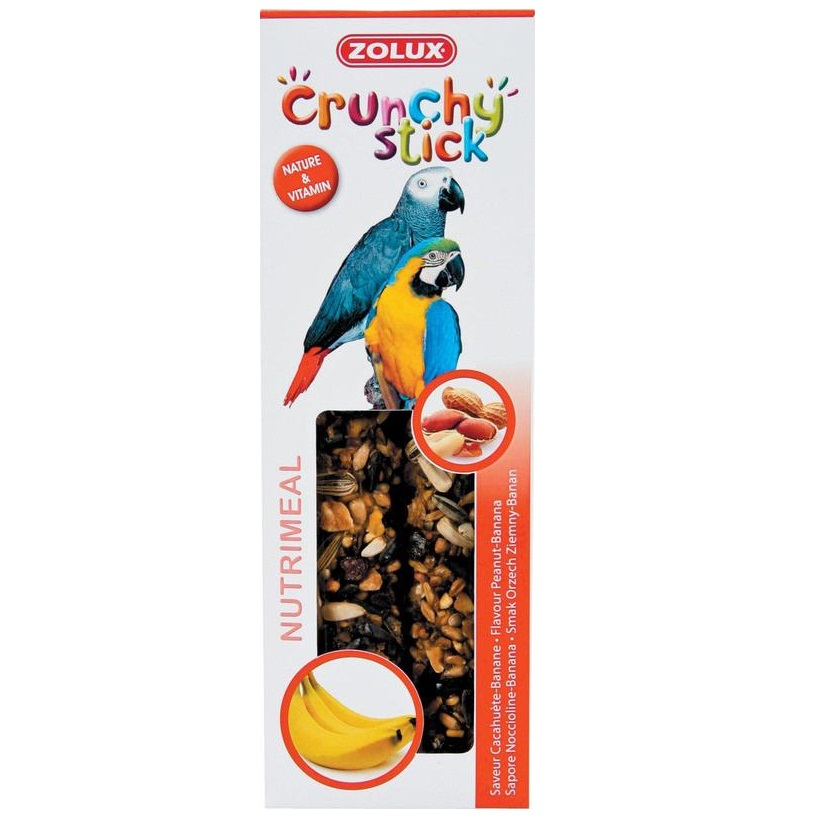 ZOLUX Crunchy Stick papuga orzech ziemny/banan - kolby dla papug 115 g
