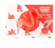 Show Tech Plastic Wraps - foliowe papiloty, 15 cm x 30 cm, 100 sztuk, kolor czerwony