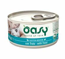 Oasy Mousse z Pstrągiem - mokra karma dla kotów, puszka 85g