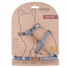 Amiplay - Szelki + smycz dla kota, kolekcja London, wzór szary