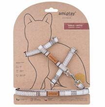 Amiplay - Szelki + smycz dla kota, kolekcja London, wzór brązowy