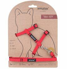 Amiplay - Szelki + smycz dla kota, kolekcja Twist, kolor czerwony
