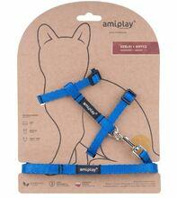 Amiplay - Szelki + smycz dla kota, kolekcja Twist, kolor niebieski