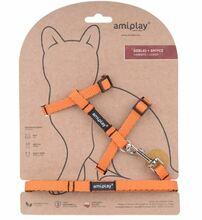 Amiplay - Szelki + smycz dla kota, kolekcja Twist, kolor pomarańczowy