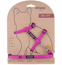 Amiplay - Szelki + smycz dla kota, kolekcja Twist, kolor różowy