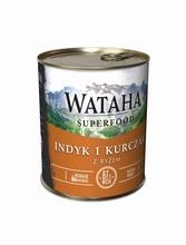 WATAHA Superfood 87% Indyk z Kurczakiem i ryżem mokra karma dla psa, puszka 410g i 850g