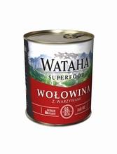 WATAHA Superfood 98% Wołowina z warzywami mokra karma dla psa, puszka 410g i 850g