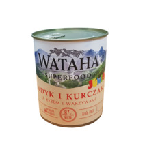 WATAHA Superfood Junior 87% Indyk i kurczak mokra karma dla psa, puszka 410g i 850g
