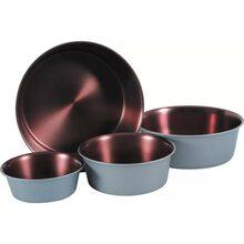 Zolux - miska ze stali nierdzewnej dla psa, antypoślizgowa, kolor szary stalowy/miedziany