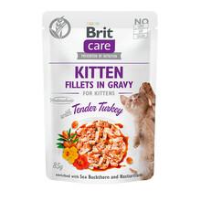 Brit Care Cat Pouch kitten, Filety z indyka w sosie - mokra karma dla kota, saszetka 85g