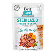 Brit Care Cat Pouch Sterylized, Filety z kurczakiem w sosie - mokra karma dla kota, saszetka 85g