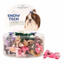 Show Tech Argyle Bows - kokardki na gumce dla psów, z serduszkami, 50 szt.