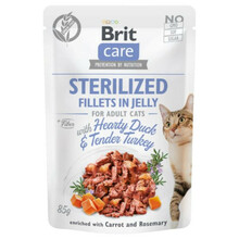 Brit Care Cat Pouch Sterylized, Filety z kurczakiem w galaretce - mokra karma dla kota, saszetka 85g