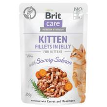 Brit Care Cat Pouch kitten, Filety z łososia w galaretce - mokra karma dla kota, saszetka 85g