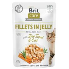 Brit Care Cat Pouch, Dorsz i pstrąg w galaretce - mokra karma dla kota, saszetka 85g