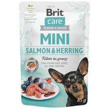 BRIT CARE MINI POUCH SALMON & HERRING STERILISED - Mokra karma dla psów ras małych po steryzlizacji, saszetka 85g