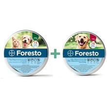 Bayer Foresto Pakiet - obroża przeciw pchłom i kleszczom dla psów powyżej 8kg + obroża dla kotów i psów d0 8 kg wagi ciała