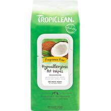 Tropiclean Hypoallergenic Wipes - hypoalergiczne, kokosowe chusteczki do czyszczenia sierści zwierząt, 100 sztuk