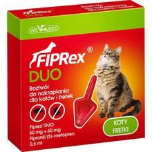 Fiprex Duo - krople przeciwko pchłom i kleszczom dla kotów i fretek, 0.5 ml