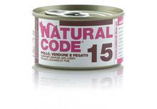 NATURAL CODE 15 puszka 85g kurczak, warzywa i wątróbka, karma dla kota