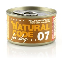 Natural Code 07 Kurczak i szynka - Mokra karma dla psa, puszka 90g