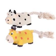 FLAMINGO Krówka zabawka lateksowa ze sznurkiem dla psa 21cm