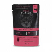 FITMIN FOR LIFE Pouch Adult Beef in gravy - mokra karma dla psa z wołowiną i suszonymi pomidorami w sosie, 85g