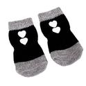 Camon Soft Step skarpetki antypoślizgowe dla psów - czarno-szare z białymi sercami
