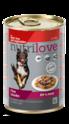 NUTRILOVE mięsne kawałki - pełnowartościowa mokra karma dla psów 415g