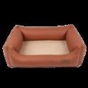 RECOBED Lincoln - kanapa dla psów z ekoskóry i minky, kolor brązowo beżowy