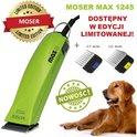MOSER 1245 Max 45 - maszynka sieciowa z ostrzem 1 mm + 2 nasadki metalowe (10 mm, 16 mm), kolor zielony